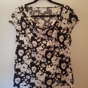Liz Claiborne Black & White Flora Blouse
